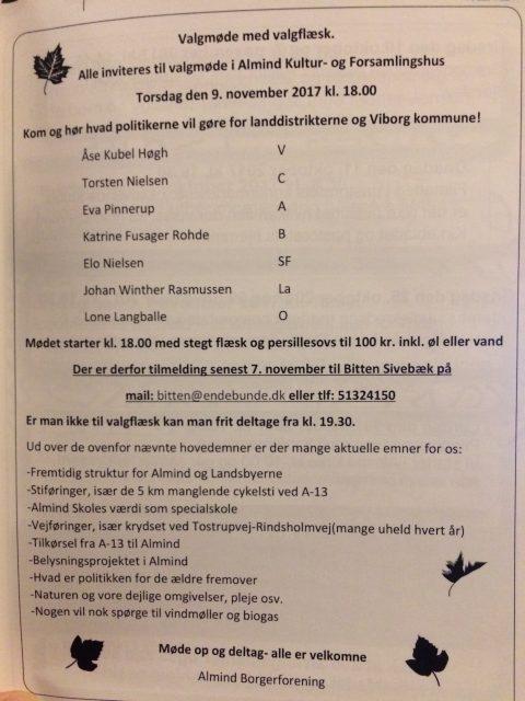 Valgmøde med valgflæsk den 9. november kl. 18.00